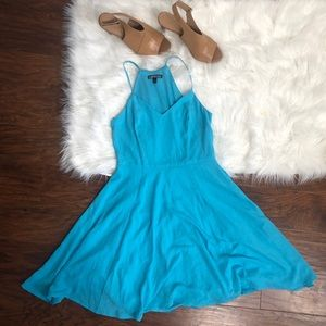 Express Blue Fit and Flare Dress